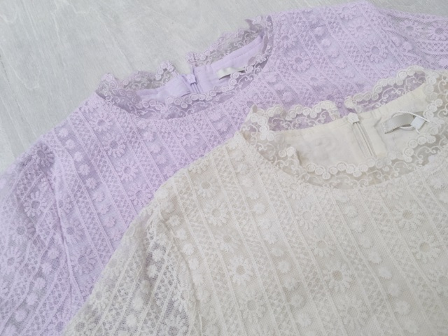 tulle lace blouse♪