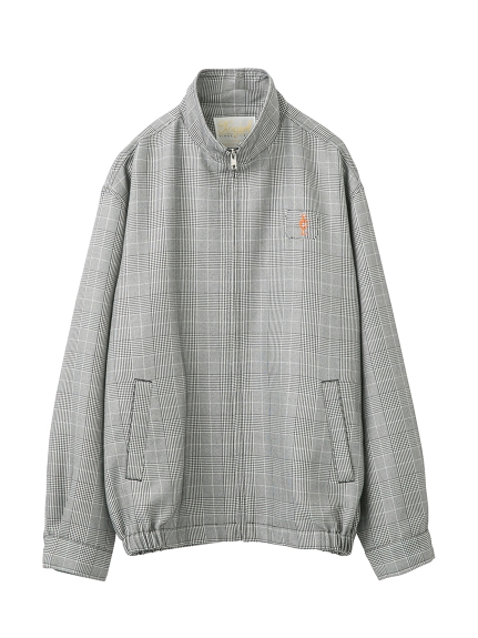 PLAID STAND COLLAR ZIP JACKET