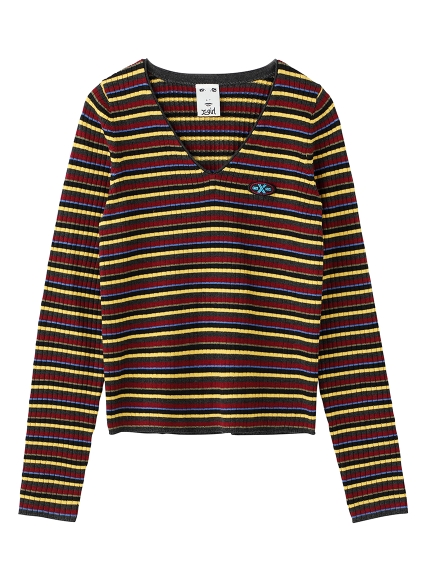 MULTI STRIPE V-NECK RIB KNIT